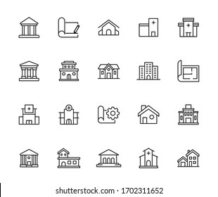 Big set of architecture line icons. Vector illustration isolated on a white background. Premium quality symbols. Stroke vector icons for concept or web graphics. Simple thin line signs.