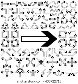 Big set of arrows. Black arrows. Black isolated on white background. Vector illustration.