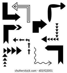 fe373e787 Big set of arrows for design interface. Black isolated on white background.  Vector illustration