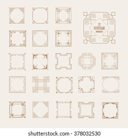 Big Set of Art Deco Western Frame, Elegant Border, Flourishes Corner Elements. Vintage  Calligraphic Ornaments