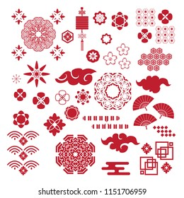 Big set  asian vector icon in oriental flat  style. Japanese, chinese elements. Cloud, wave, fan, mandala, flower,  lantern, moon, bamboo tree, sakura, and mountain. Vector illustration.