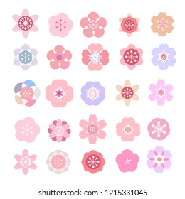 Big set  asian vector icon in oriental flat  style. Japanese, chinese  flowers elements. Sakura, plum, cherry, peony, chrysanthemum.  Vector illustration.