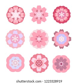 Big set  asian vector icon in oriental flat  style. Japanese, chinese  flowers elements. Sakura, plum, cherry, peony, chrysanthemum.  Vector illustration.