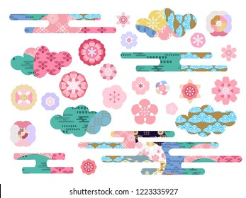 Big set  asian vector icon in oriental flat  style. Japanese, chinese  flowers  and clouds  elements. Sakura, plum, cherry, peony, chrysanthemum.  Vector illustration.