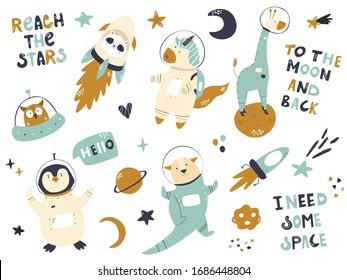 Big set of astronaut animals and space animals unicorn, panda, giraffe, penguin. otter. Adorable character design. Vector illustration