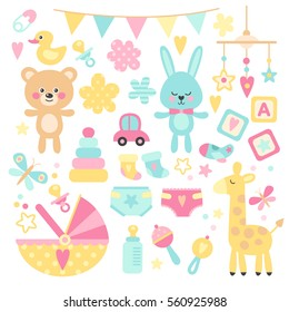 Big set of baby shower! Vector set of bright, cute children's elements. Set of toys, dolls, clothes, and other baby items.