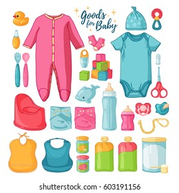 Big set baby stuff. ?ute set of things for childrenhood. Isolated icons of baby goods for newborns. Clothing,  toys, accessories for hygiene, food for Infant.  Vector.