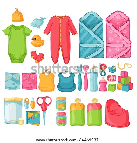 c8fcad560267 Big Set Baby Stuff Set Things Stock Vector (Royalty Free) 644699371 ...