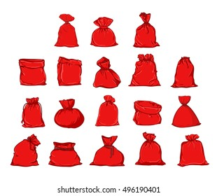 Big set of bags Santa Claus, vector bag. Illustration of a Christmas bag. Santa Claus red bag