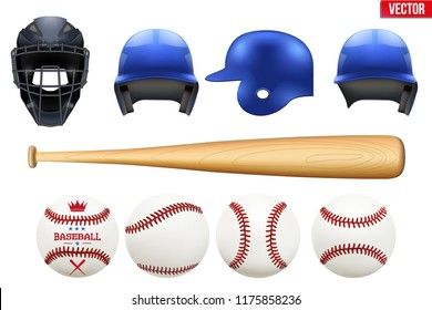 Big set of baseball equipment. Batter and catcher helmets. Bat and balls. Sport Vector Illustration isolated on white background