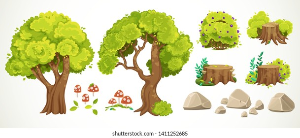 Big set of beautiful old moss-covered stumps, summer leaves, rubbing a pack of mushrooms,trees and stones isolated on white background
