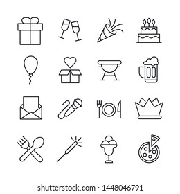 Big set of Birthday line icons. Vector illustration isolated on a white background. Premium quality symbols. Stroke vector icons for concept or web graphics. Simple thin line signs.
