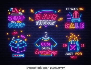 Big set Black Friday Neon Signs. Black Friday Vector illustration discount sale concept in neon style, online shopping and marketing concept. Luminous signboard, bright banner, Light advertisement.