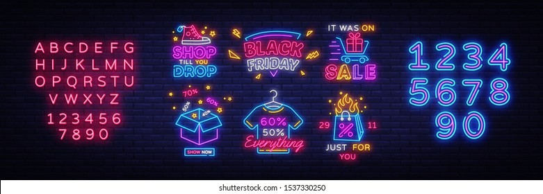 Big set Black Friday Neon Signs. Black Friday Vector illustration discount sale concept in neon style, online shopping and marketing concept. Luminous signboard. Editing text neon sign.