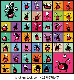 Big set of black Funny Monsters with different emotions on color shapes. cartoon illustration