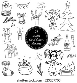 Big set black line winter elements with girl, Christmas tree, big gift and sack, bear and bell, bottle and glass, mitten and socks. For greeting card, invitation, posters, texture backgrounds, placard