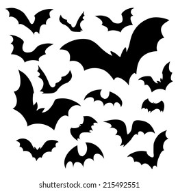 Big set of black silhouettes of bats, vector