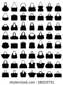 Big set of black silhouettes of handbags, vector