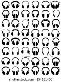 Big set of black silhouettes of headphones, vector