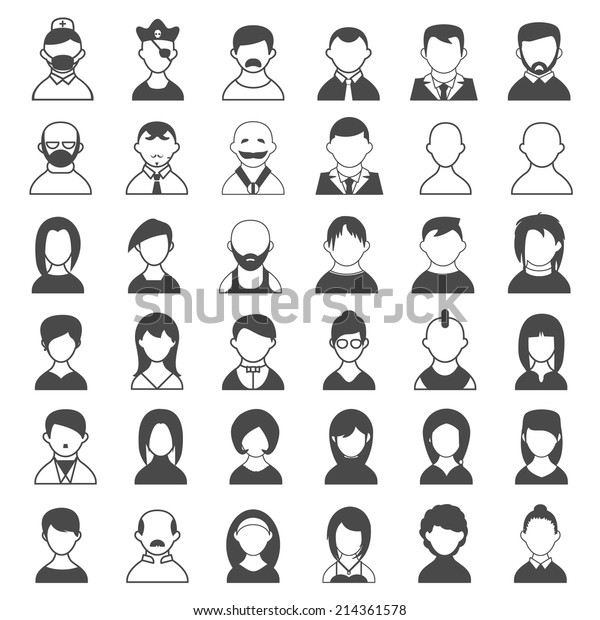 Big Set Black White Outline Icons Stock Vector (Royalty Free