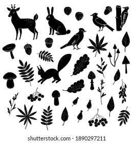 Big set of black and white silhouettes of forest animals, birds, mushrooms and berries.