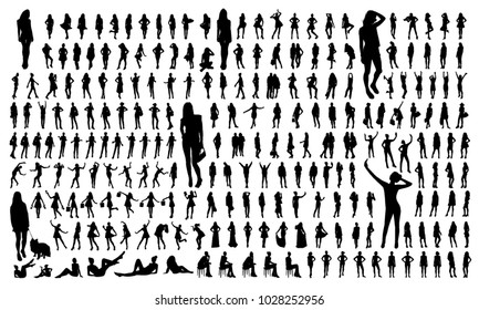 Big set of black women silhouettes. Women with bags, standing, walking, jumping, dancing, making a selfie, sitting isolated figures.