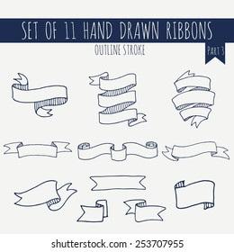 Big set of blank cute blue outline stroke ribbon banners on light background. Hand drawn vector illustration of decorative elements for your design. Part 3.