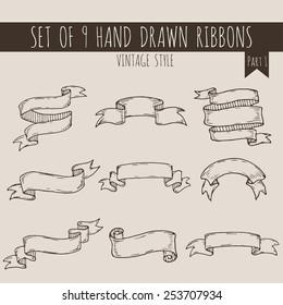 Big set of blank cute ribbon banners in vintage style on beige background. Hand drawn vector illustration of decorative elements for your design. Part 1.