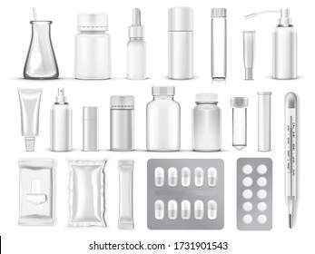 Big Set Of Blank Medical Packaging. Pills, Tubes, Containers And Bottles. EPS10 Vector