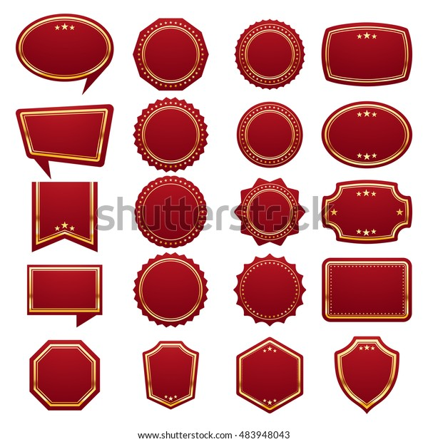 Big Set Blank Stickers Tags Labels Stock Vector (Royalty