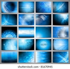 Big set of blue technical backgrounds. Vector illustration eps 10