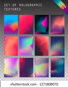 Big set of blurry pastel holographic vector backgrounds. Iridescent neon shiny colors, blue, yellow, green, purple, pink.