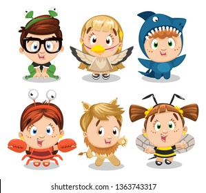 Big set of boys and girls dressed like bee, lion, frog, crab, bird, crawfish, shark. Kid`s entertainment, carnival, costume party, drama, theatre school. Wildlife world. Cartoon isolated on white