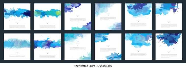Big set of bright blue vector watercolor background for poster, brochure or flyer
