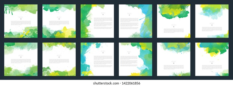 Big set of bright green vector watercolor background for poster, brochure or flyer