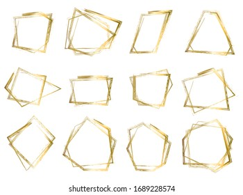 Big set of bright isolated vector golden grunge scratch ink brush geometric square and rhombus frames. Bronze or copper hand drawn polygonal textured borders collection for graphic design, decoration