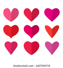 Big set of bright red and pink half heart icons in flat style. valentine's day concept. vector illustration isolated on white background