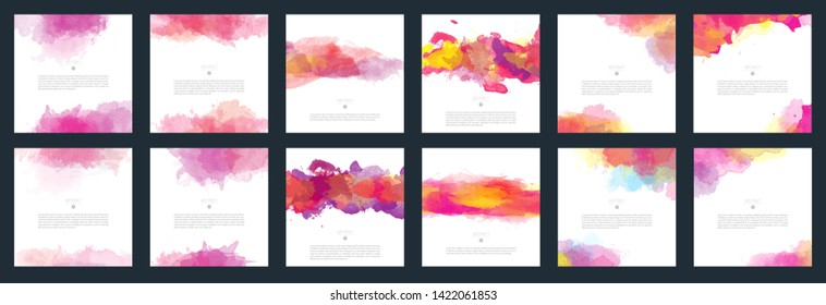 Big set of bright red vector watercolor background for poster, brochure or flyer