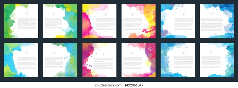 Big set of bright vector colorful watercolor background for poster, brochure or flyer