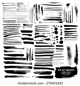 Big Set of brushes ink design elements. Hand-drawn with watercolor  grunge strokes (individual objects). Abstract watercolor design elements for your projects. Vector illustration
