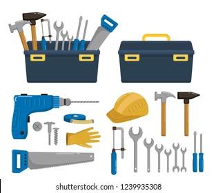 Big set of building tools repair vector cartoon illustration