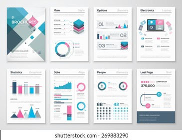 Big set of business brochures and infographic vector elements. Illustrations of modern info graphics. Use in website, flyer, corporate report, presentation, advertising, marketing etc.