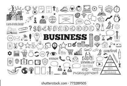 Big set of Business Icons. Vector hand drawn isolated objects. Sketch style