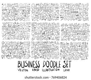 Big Set of Business illustration Hand drawn doodle Sketch line vector