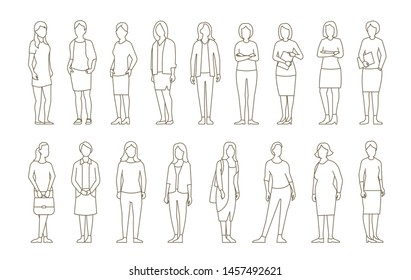 Big set business womens. lady management. Businesswomens standing. Work partnership leadership. Female dress code. Outline contour line vector illustration.