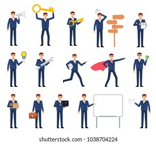 Big set of businessman characters showing different actions, poses. Businessman holding key, wrench, loudspeaker, laptop, letter, thinking and showing other actions. Flat style vector illustration