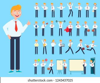 Big set of businessman or office worker character showing different gestures, with various accesories. Character vector flat design for your project.