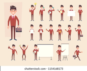 Big Set of Businessman showing different gestures, with various accesories. Character vector flat design for your project.