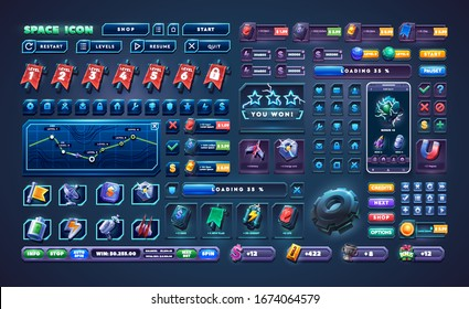 Big set buttons for games and app. Glass game UI kit. Space game icon.