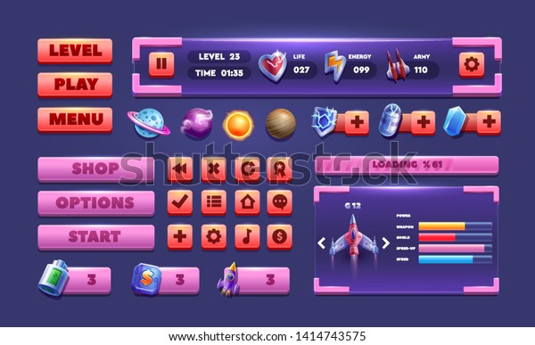Big Set Buttons Games App Glass Stock Vector (Royalty Free